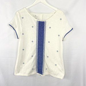 Talbots S/S Embroidered Cream Top Large